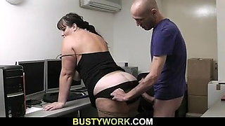 Boss fucks busty fatty from behind at work