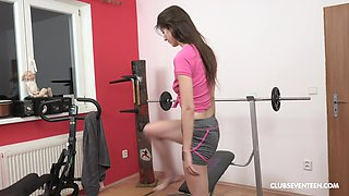 Lina Luxa gets too horny from working out and decides to masturbate