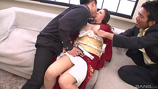 Busty Japanese MILF tied up and abused by two horny guys