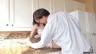 Sweetie Penelope Reed spreads legs in front of her step daddy