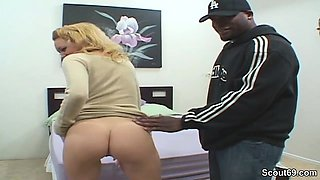 Small Blonde Teen in Real Casting with Monster Black Dick