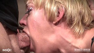 Mature blonde in high heels Dee Williams abused by two guys
