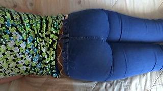 Enjoying my wife's stepsister, big ass in jean, handjobs, cumsho