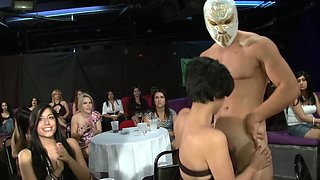 Girls compete to see if they can deepthroat this stripper dick