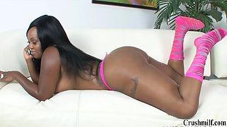 Ebony with gigantic boobs sucks and fucks monster cock watch full clip on crushmilf.com