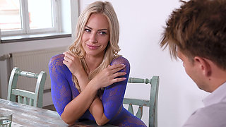 Bodysuit blonde fucked sideways
