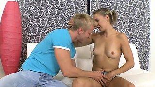 Delectable blonde Martina C's slit drilled