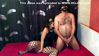Naked, Gagged, Cuffed Man With a Stocking on His Head with His Mistress