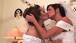 lesbian brides fuck one another on camera
