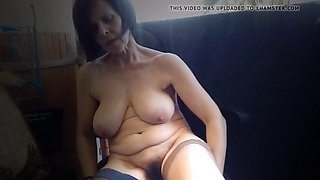 hairy saggy tits exhibitionist masturbating in balcony