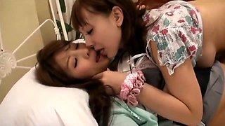 Naughty Japanese lesbians kissing