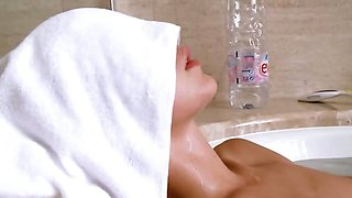 Petite belarusian girl in the hot bath