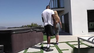 cuckold hubby watches wife fuck black workout trainer