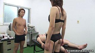 Dominant Japanese slut Remi Kawamura sits on dude's face while wanking dick