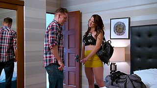 Passionate fucking in the bedroom with fake tits Audrey Miles