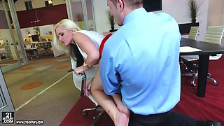 Lecherous lady boss Alena Croft is fucked by new employee in the office