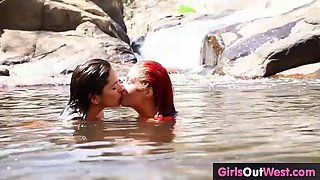 Lesbian amateur assholes and cunts licked outdoors