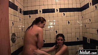 Lovely girls have fun in the shower