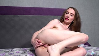 Rather flexible alone hottie Milena Tissen loves taking crazy poses during solo