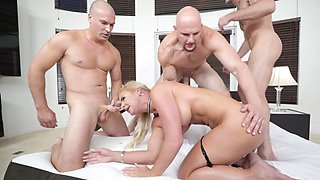 Gangbanged girls take on cock in every tight hole