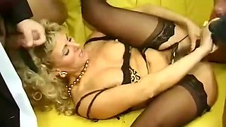 Lascivious and wild vintage blonde milf on the couch with horny men