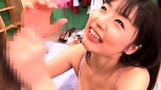 Naughty Japanese babe gets gangbanged and covered in semen