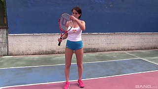 Appealing tennis player decides to masturbate the pussy on the court