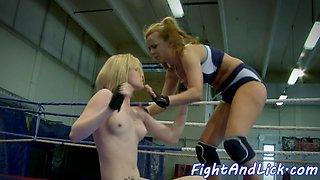 Wrestling lezzie gets ass fingered deeply