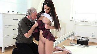 Schoolgirl Lana Ray Lets Old Man Pleasure Her