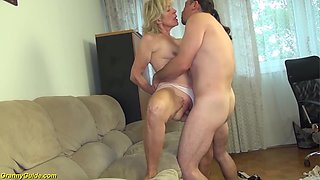 Extreme horny 81 years old skinny granny with saggy tits gets rough big cock fucked