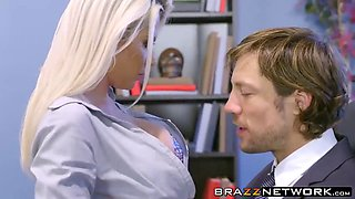 Blonde MILF and redhead babe smashed hard in the office