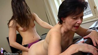 Spoiled and ardent old bitch called Karla gets her cunt fucked with strapon