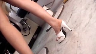 Asian hairdresser showing undies upskirt