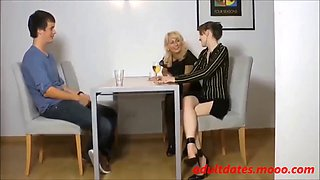 Young man fuck german mom and daughter