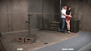 Tied up submissive collar Alex More gets brutally mouthfucked by stud