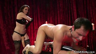 Mistress walks on tied up males body