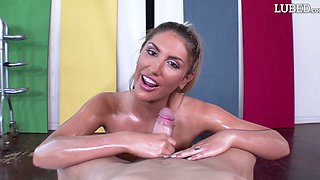 Oiled senorita August Ames still knows how to impale herself on cock