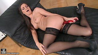 Sex-hungry secretary Diana Dolce fucks herself in the office