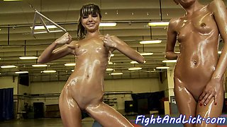Wrestling dykes fingering in sixtynine pose