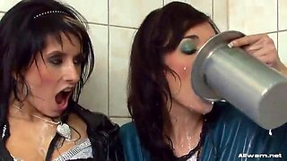 two babes get in a bathtub full of foamy milk
