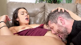 Bearded man gives the Latina attention fucking her on the bed