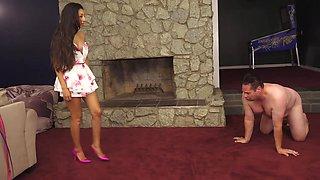 Slave gets hard whipping punishment from sadistic brunette mistress