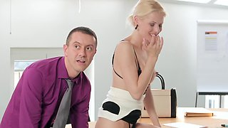 Petite office lady Lynna Nilsson gets fucked by her boss