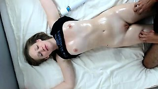 Helpless girlfriend with tiny boobs gets sexually pleased