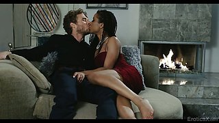 Mouth watering ebony paramour Kira Noir goes wild on a hard white penis