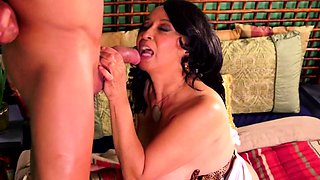 Latina granny gets melons sucked and eats cock