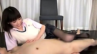 Slim Japanese schoolgirl in nylons teases and pleases a cock