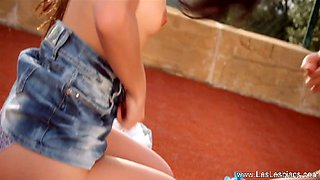 Pussy Commitment From Gorgeous Babe Lesbians Outdoor