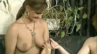 Sweet and sexy brunette with big boobs having sex with a lesbian milf