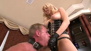 Blonde fucks him hard with her strapon